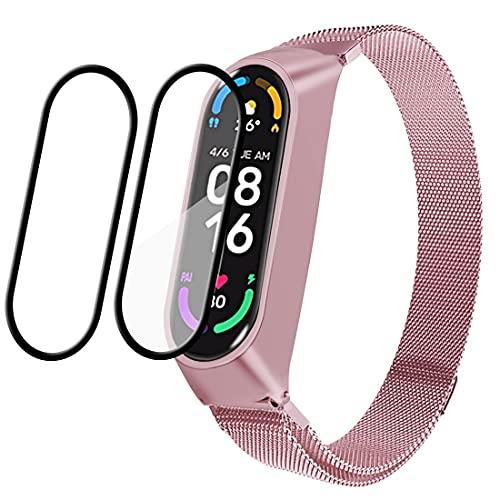 Leelbox Correa para Xiaomi Mi Band 6 / Xiaomi Mi Band 5 / Amazfit Band 5, Pulsera Metal Correas Imán de Actividad Reloj Wristband Recambio Bandas de Acero Inoxidable magnético Strap (Rosa)