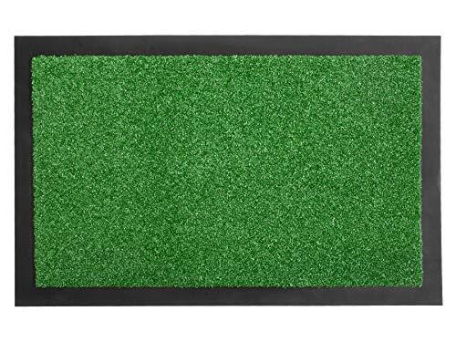 Primaflor - Ideen in Textil Schmutzfangmatte Verona Fußmatte Grün 60x90 cm - Waschbare, rutschfeste Kunstrasen Matte für Innen & Außen, Sauberlauf-Matte, Küchenläufer, Fußabtreter und Türvorleger