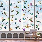 KAIRNE 121 Stück Bunt Vogel Fenstersticker,Fensteraufkleber Kolibri und Schmetterlinge,Rosa Blumen Schmetterlinge Wandaufkleber für Mädchen Schlafzimmer,Tiere Fensterbild für...