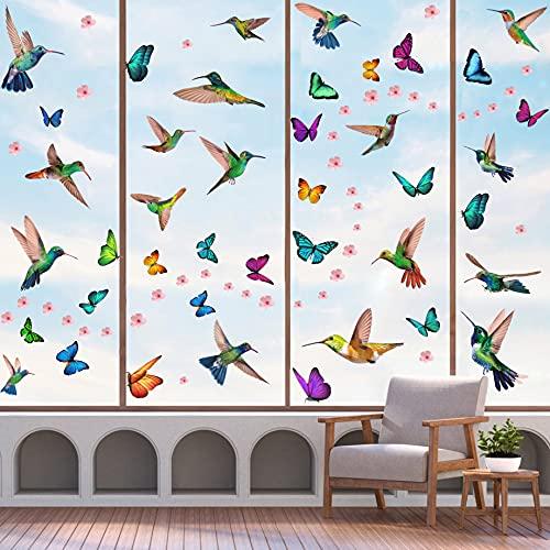 KAIRNE 121 Stück Bunt Vogel Fenstersticker,Fensteraufkleber Kolibri und Schmetterlinge,Rosa Blumen Schmetterlinge Wandaufkleber für Mädchen Schlafzimmer,Tiere Fensterbild für Kinderzimmer Wohnzimmer