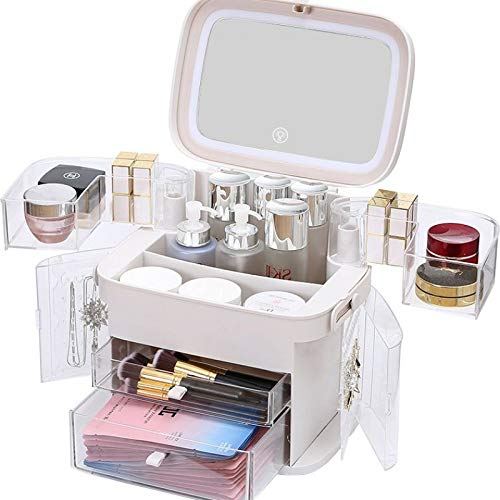 XLFD Led light makeup organiser storage,with mirror and light,with 6 Drawers,Women's large gift boxes (Pink)