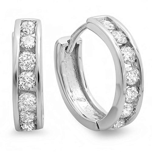 0,55quilates (de quilate) 12mm 10K oro blanco redondo diamante señoras Mens Unisex Huggie pendientes de aro