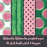 Watercolor Watermelon scrapbook paper 20 sheet double sided 4 designer: fruit scrapbooking embellishments - decoupage paper - Decorative crafting Paper for handwork - paper for scrapbook