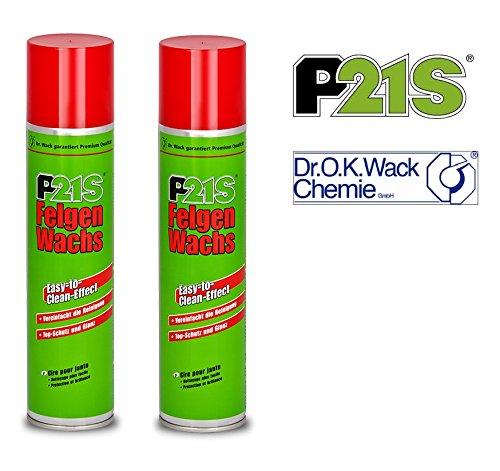 Preisvergleich Produktbild PRAKTISCHES SET 2 x 400ml P21-S Dr WACK PREMIUM FELGEN-WACHS Felgen Pflege Radkappen Wachs Felgenwax geeignet für Blanke,  eloxierte und lackierte Alufelgen,  alle lackierten Stahlfelgen,  lackierte Radkappen