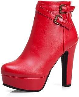 Jingya Botas de Mujer Plataforma Redonda Gruesa Tacón Alto PU Botines Impermeables Botines con Cremallera Lateral Zapatos ...