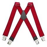 HBselect Tirantes 4 Clips X Forma Ancho 4 cm Tirantes Elásticas Longitud Adjustable Para Hombre y Mujer (Rojo)