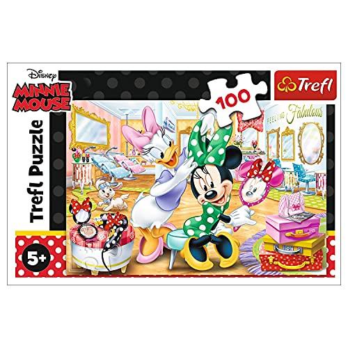 Trefl, Puzzle, Minnie im Kosmetikstudio, Disney Minnie, 100 Teile, für Kinder ab 5 Jahren