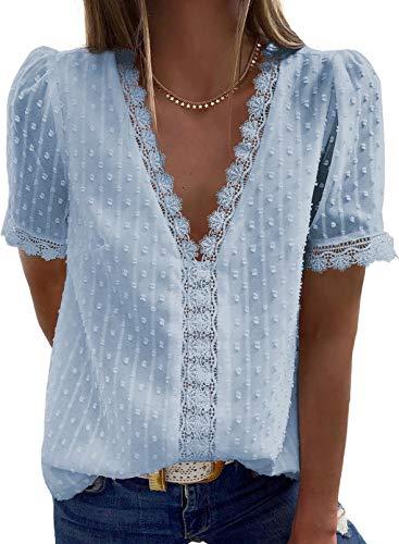 Aleumdr Damen T-Shirt Sommer Bluse mit Spitzen Damen V-Ausschnitt Oberteil Damen Tops Sexy Blusen Kurzarmshirt Sky Blau L