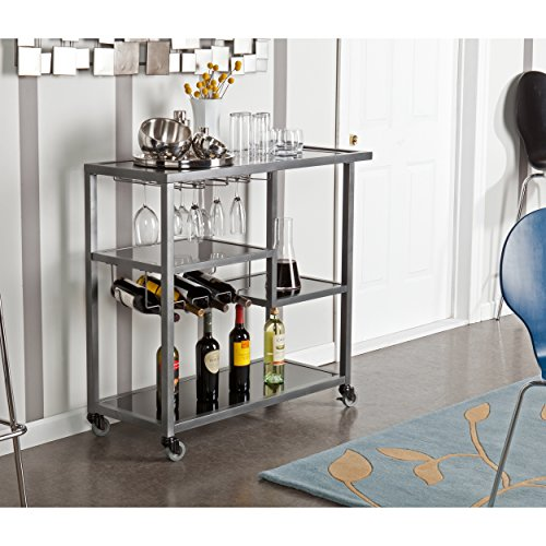 SEI Furniture Zephs Rolling Bar Cart - Locking Castor Wheels - Gunmetal Finish w/Black Tempered Glass