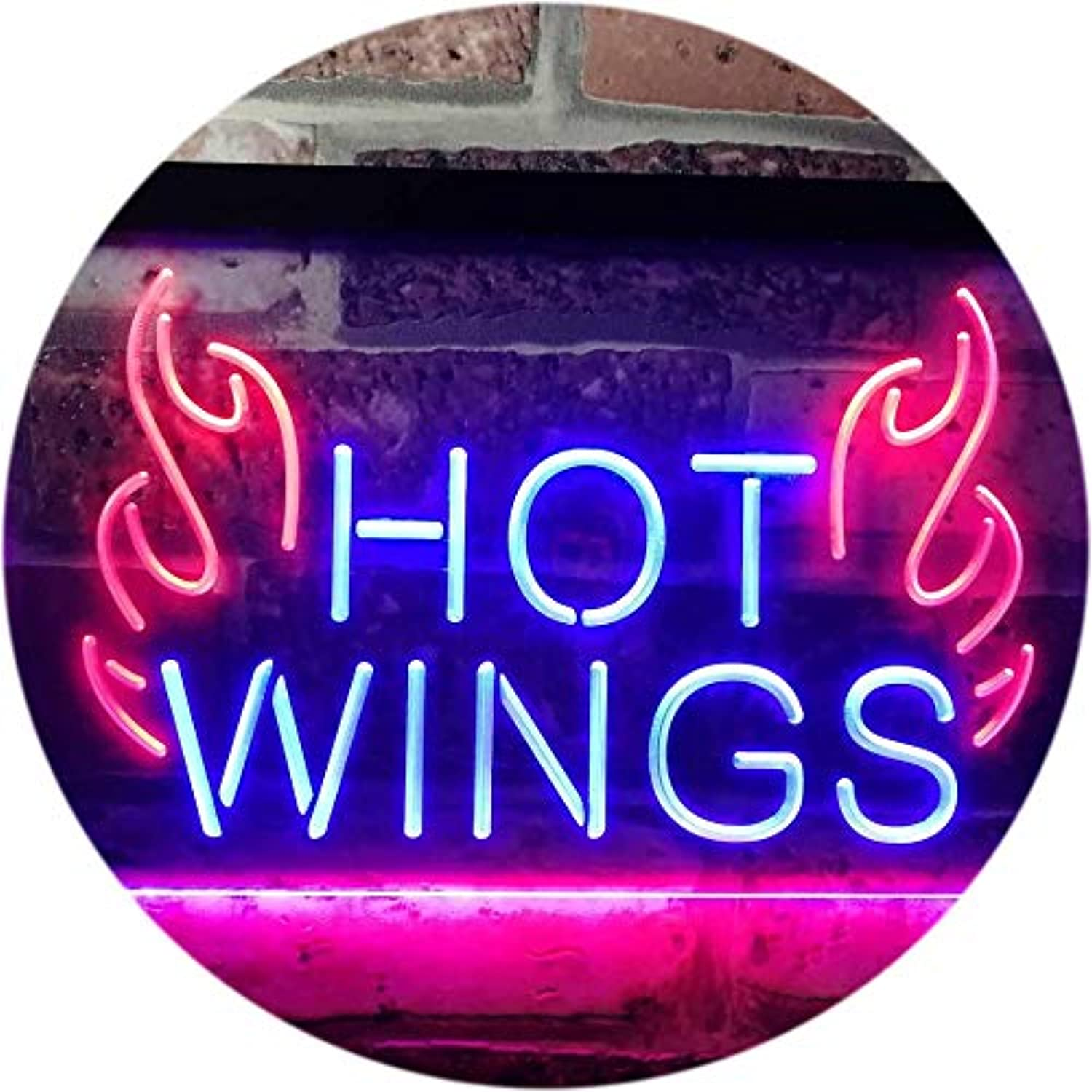 ADVPRO Hot Wings Fast Food Shop Open Display Dual Farbe LED Barlicht Neonlicht Lichtwerbung Neon Sign rot & Blau 16  x 12  st6s43-i3154-rb