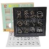 Chonor 12 Piezas Mini Rompecabezas de Metal Alambre Puzzle Set, IQ Entrenamiento Juego de la Mente Inteligencia Logica Educativa Juguete Idea de Regalo para Adultos y Niños