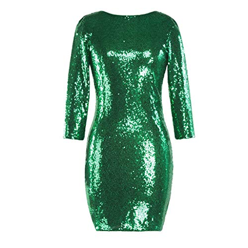 TUDUZ Kleider Festlich Langarm Damen V-Ausschnitt Sparkly Stretch Pailletten Bodycon Party Minikleid Freundin Kreativ Geschenk (T-Grün, M)