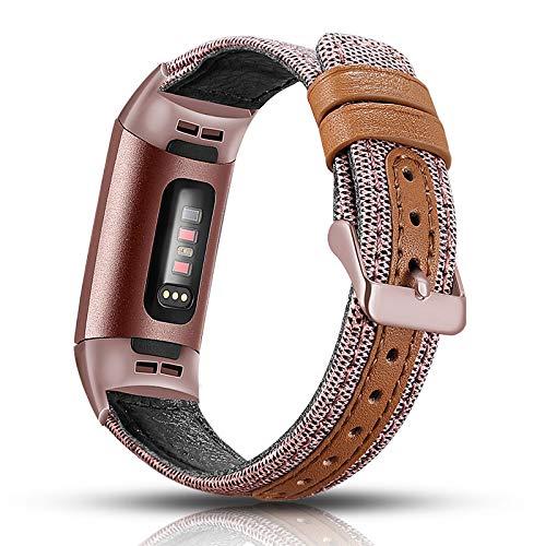 Aottom Compatibel met Fitbit Charge 3 leren bandje, armband Fitbit Charge 3 leren armbanden, vervangend canvas