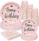 Rorchio Rosa e Oro Happy Birthday Stoviglie, Piatti di Compleanno Rosa e Bicchieri Tovaglioli per Donne Ragazza Compleanno Festa Forniture Serve 24