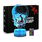 3D Optical Illusion Skull LED Light Lamp with 16 Colors Touch Sensor with Remote Control and RGB Color, Ideas for Atmosphere Bedroom Decoration, Birthday Christmas Party Gift Suitable for Kids