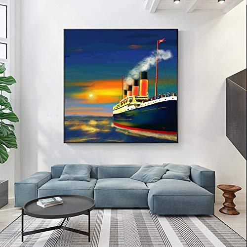wZUN Pintura Abstracta Barco Cartel océano Barco de Vela Impresiones en Lienzo Sala de Estar Dormitorio Mural decoración del hogar 60x60 Sin Marco