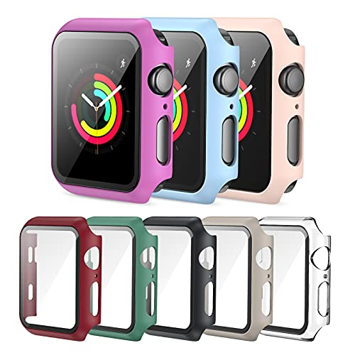 Screen Protector Case Compatible with Apple Watch 38mm Series 3/2/1, PLWENST 8 Pack Full Hard PC Ultra-Thin Scratch Resistant Bumper HD Protective Watch Cover for Women Men iWatch Accessories