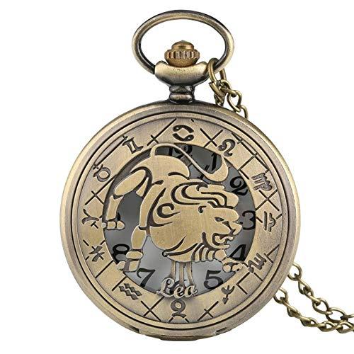 J-Love Reloj Bolsillo Bronce, Collar, Colgante, Hombres, Mujeres, Constelaciones, Leo, Steampunk, patrón León, Regalo Retro para niños, Chico