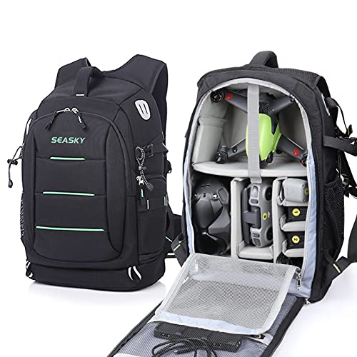 SEASKY Warrior Backpack for DJI FPV Combo Mavic 2 pro Air2 Air2S Racing Drone Quadcopter Shoulder Bag Outdoor Portable Travel Bags Carry Goggles Lipo Batteries with Waterproof Rain Cover (Green)