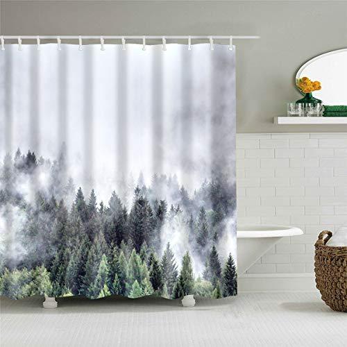 Duschvorhang, Morbuy 3D Digitaldruck Top Qualität Schimmelresistenter & Wasserabweisend Shower Curtain Waschbar Mit 12 Duschvorhangringen 100prozent Polyester (150x180cm,Nebelig)
