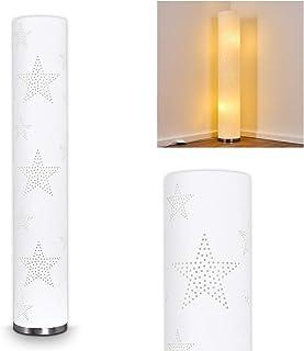 Lámpara de pie metálica Macossa en cromo - con motivo de estrella sobre pantalla textil - Lámpara de pie para salón - dormitorio - interruptor de pie por cable