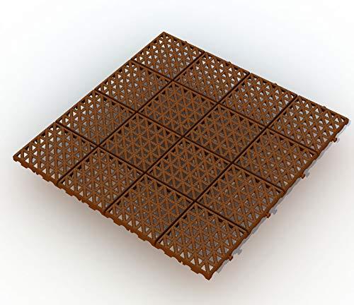 Bodengitter, Balkonfliese, Rasenfliese, Bodenrost, Terrassenfliese, 333 x 333 x 10,5 mm, aus Kunststoff, ab 18 Stück