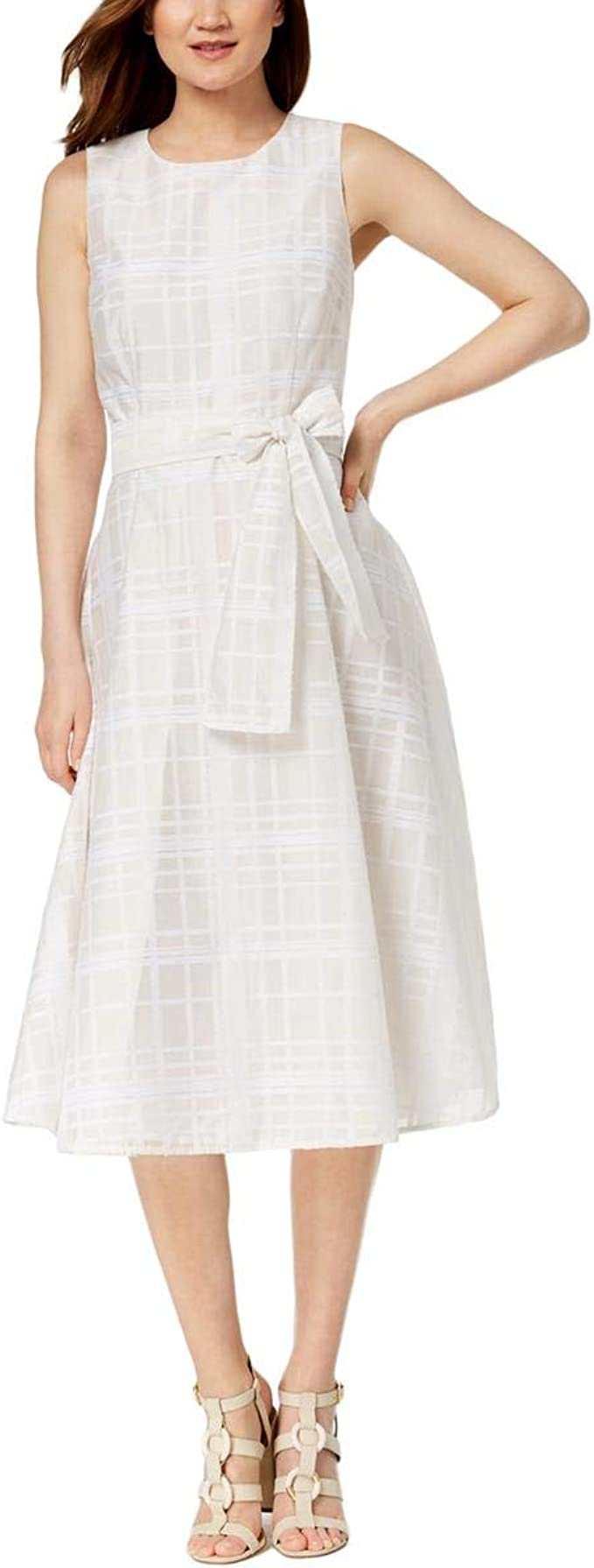 Calvin Klein Damen Sleeveless Plaid Fit and Flare with Self Sash ...