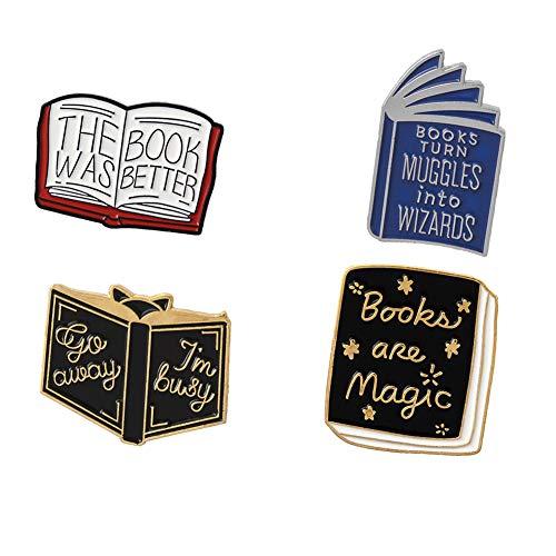 5Pcs Enamel Pin Hedgehog Book Pin Cartoon Series Badge Literature Lovers...