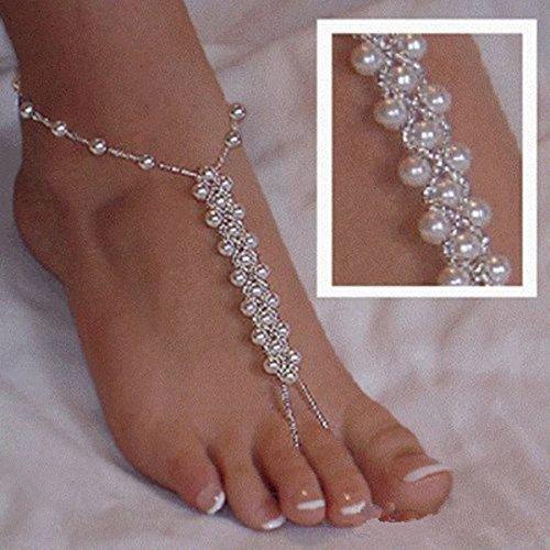 Hemore 2 Stück (1 Paar) Perlen Barfuß Sandalen Strand Hochzeit Fußschmuck Fußkettchen Brautschmuck