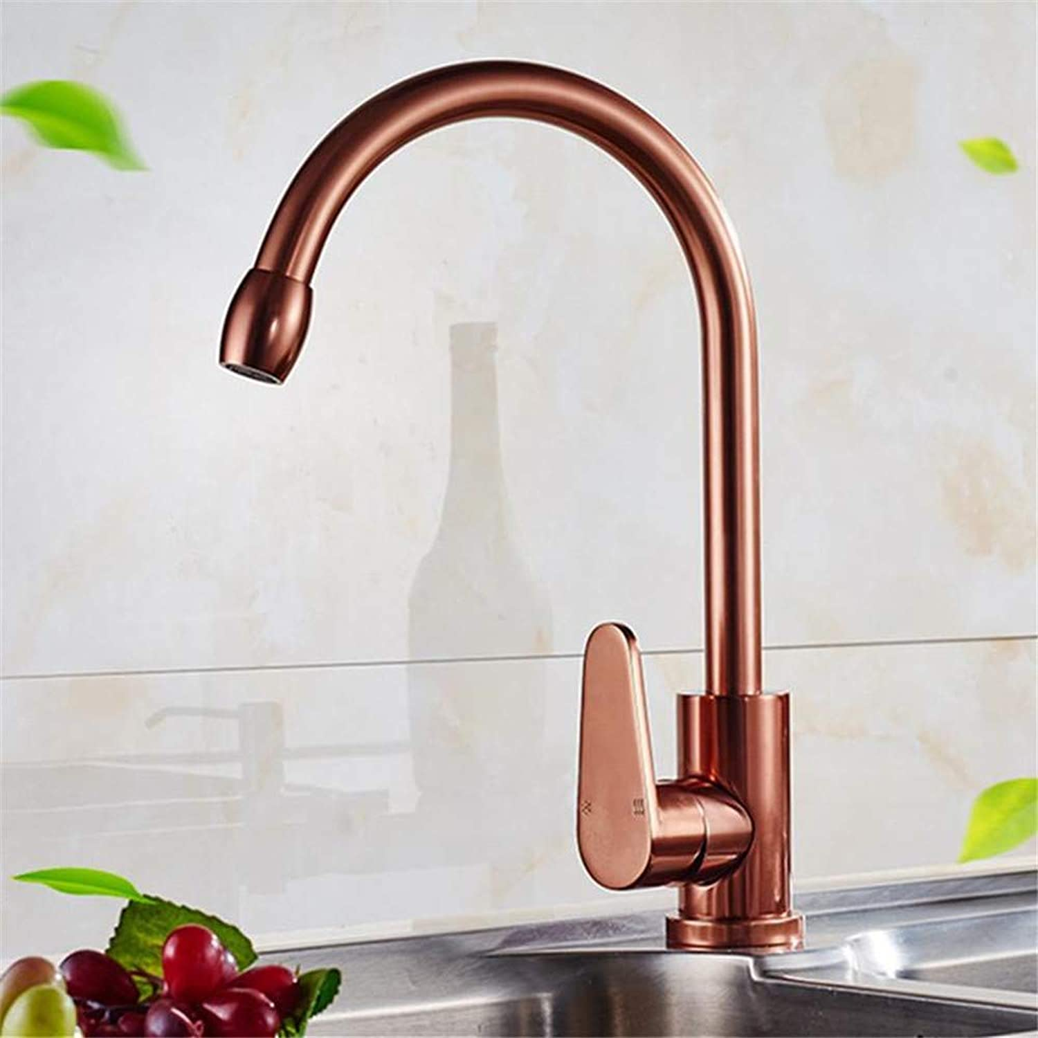 Oudan Single Handle pink gold Kitchen Sink Faucet with Deck Mounted Space Aluminum Bathroom Basin Faucets (color   -, Size   -)