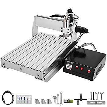VEVOR CNC Router 6040 3 Axis CNC Router Engraver 600x400mm USB Engraving CNC Router Kit MACH3 Control VFD Water-Cooling Router 1000W Ball Screw for Metal Wood Glass and Plastic 6040 3 Axis