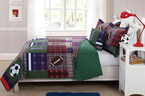 Elegant Home Patchwork Sports Soccer Football Design Multicolor Dark Blue Green Red Fun Colorful 4 Piece Quilt Bedspread Bedding Set with Decorative Pillow for Kids/Boys (Full Size)