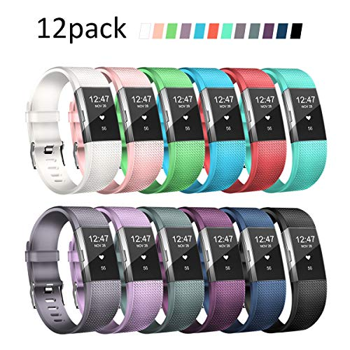 Wekin Replacement Bands Compatible with Fitbit Charge 2, Adjustable Silicone Sport Accessory Wristband Straps for Charge 2 HR Fitness Tracker Small Large Women Men