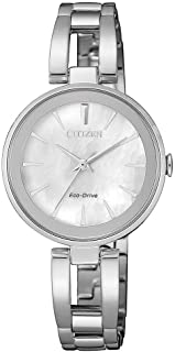 Citizen Women's White Dial Stainless Steel Band Watch - EM0631-83D