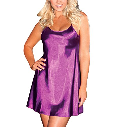 LoveLeiter 2018 Womens Night Dress Plus Size Dessous Babydoll NachtwäSche Sleep UnterwäSche Beautytop Damen Dessous, Sexy Perspektive Pyjama Erotik Set Hot(Lila,XXXL)