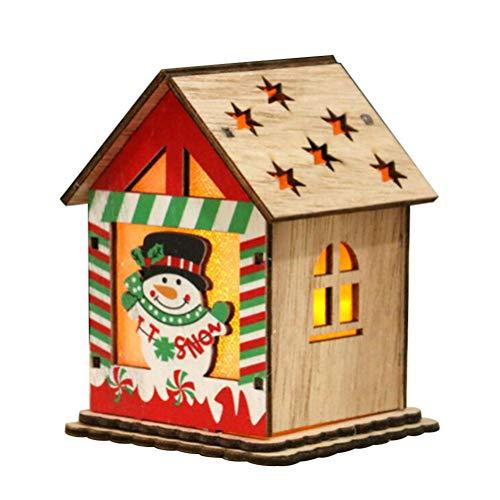 Amosfun - Decorazione natalizia a forma di casetta in legno, per bambini, con batteria a bottone, Legno, Snowman Style, Standard
