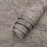 TOTIO Papel pintado con textura de hormigón industrial, diseño retro de cemento gris 15.75 x 118.11 pulgadas, autoadhesivo