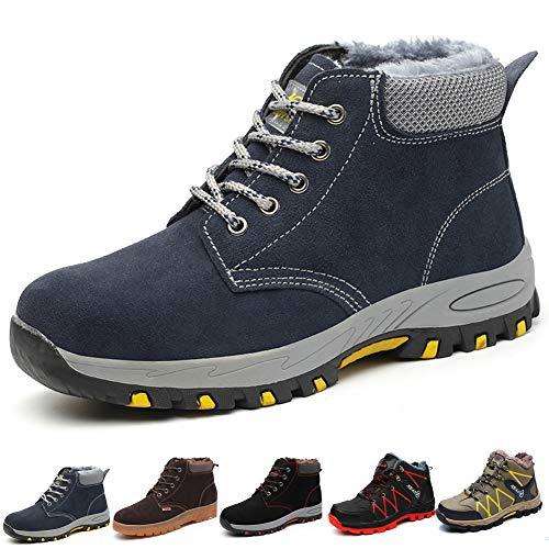 Gainsera Safety Boots Men Women Winter Work Boots with Steel Toe Cap Lightweight Kevlar Safety Shoes Trainers Puncture Proof Plush Warm Work Shoes, Blue 40
