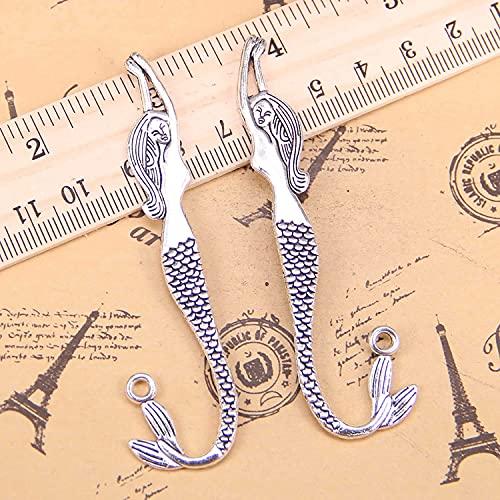 AMOZ Fashion4Pcs Charms Marcapáginas de Sirena de Doble Cara 82 Mm Colgantes Antiguos, Joyería de Plata Tina Vintage, Diy para Collar de Pulsera,Chapado en Plata Antigua