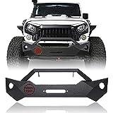 Hooke Road Jeep Wrangler JK Stubby Front Bumper w/Winch Plate & OE Fog Light Holes for 2007-2018 Jeep Wrangler JK & Unlimited