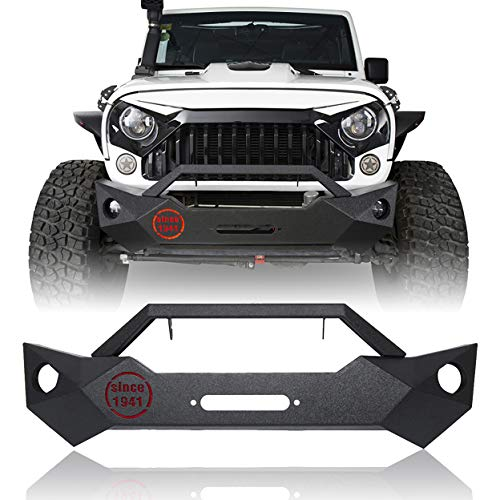 Hooke Road Wrangler JK Stubby Front Bumper w/Winch Plate & OE Fog Light Holes Compatible with Jeep Wrangler JK & Unlimited 2007-2018