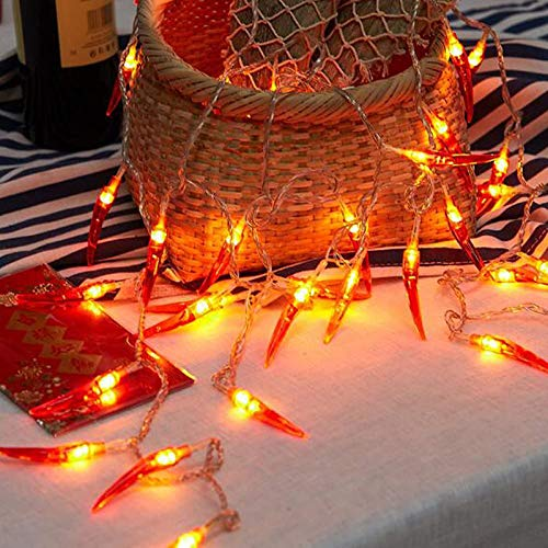2pack red Chili Pepper String Lights,40 LED Pepper String lamp Indoor Kitchen Decor Outdoor Mexican Decorations Lighted, Battery Powered Fairy,Suitable for Wedding, Chinese New Year,Party Decoration