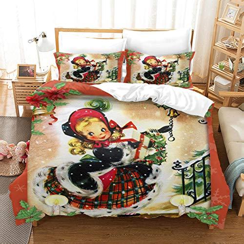 HKDGHTHJ Juego de funda nórdica 3D de 4 piezas Niña de navidad de dibujos animados 220 x 230 CM Juego de ropa de cama Funda nórdica Sábana Fundas de almohada Ropa de cama para niños Niñas Pareja Twin