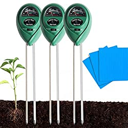QAQGEAR Garden Soil PH Meter 3 in 1 Soil Moisture/Light/pH Tester Kit Perfect Tools for Farms, Lawns, Plants Care, Indoor & Outdoor Use(3 Pack)