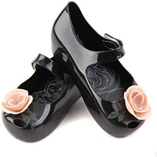 Mini Beauty Beast Kids Jelly Girl Princess Sandals Shoes Rose Teacup Black 9