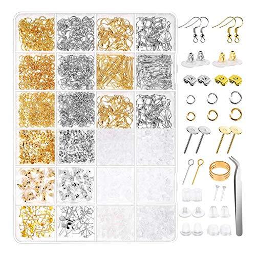 Timagebreze Kit de FabricacióN de Pendientes de 2480 Piezas con Fornituras Ganchos para Pendientes, Postes para Pendientes, Anillos de Salto para Suministros para Hacer Joyas
