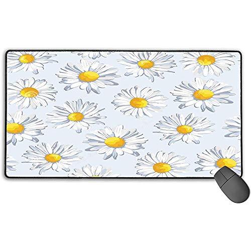 Grote muismat, wit, bloemen, design, uitgebreide gaming-muismat, antislip, rubberen muismat, 40x75 cm