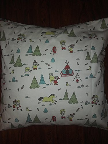 "COWBOY & FRIENDS western, scoots Campfire 18""x 18"" Throw Pillow Cover, Cushion, Accent Pillow, Invisible zipper, Cushion Cover - SALE Square kids theme"