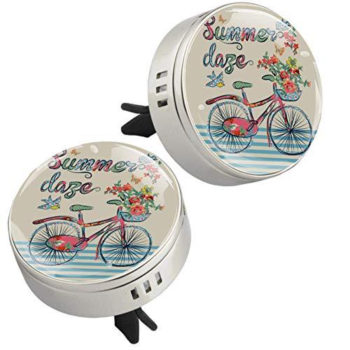 2 unidades vintage retro de bicicleta con diseño de mariposas y pájaros, difusor de aceites esenciales, medallón con cierre magnético con clip de ventilación, 4 almohadillas de repuesto (plateado)