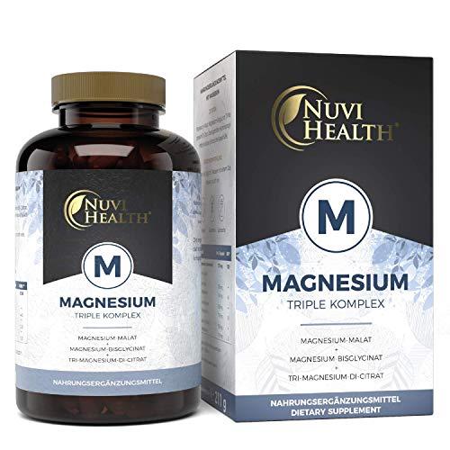 Nuvi Health® magnesiumcomplex – 240 capsules – 2250 mg waarvan 375 mg eltementair magnesium per dagsport – magnesiumbisglycinaat magnesiumcitraat magnesiumtalaat – hoog gedoseerd – laboratoriumgetest